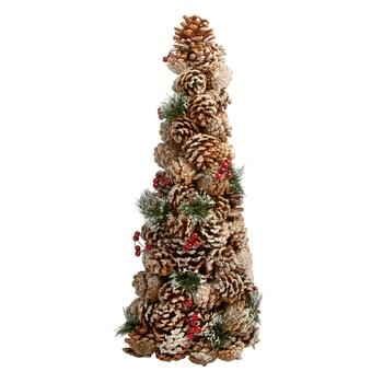 "22"" Frosted Pine Needles and Berries Pinecone Tree"