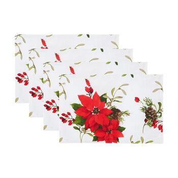 Red Poinsettia and Pinecones Fabric Placemats, Set of 4