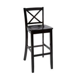 "30"" Black X-Back Wood Barstool"