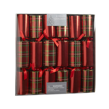 Red Plaid Deluxe Party Crackers, Set of 6 view 1