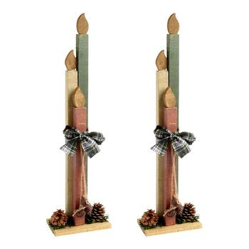 Standing Wooden Candles, Set of 2