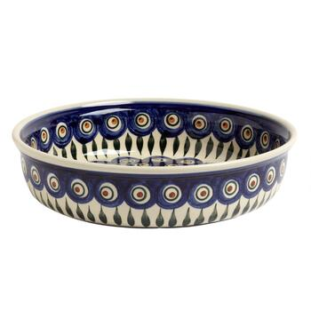Polish Pottery Peacock Feathers Large Ceramic Fruit Bowl