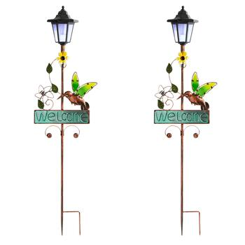 "36"" ""Welcome"" Flower Hummingbird Solar Stakes, Set of 2"