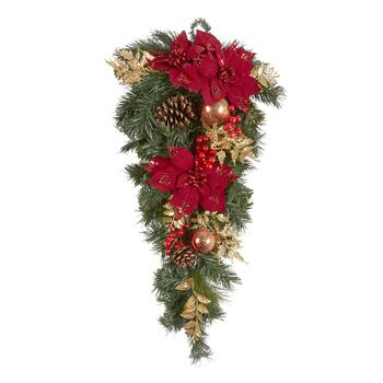 "30"" Red Poinsettia & Pinecone Teardrop Wreath"