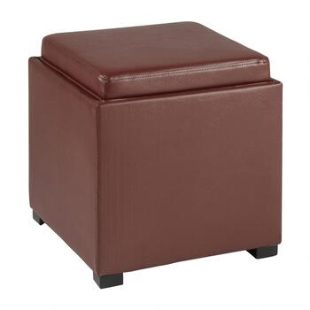 Faux Leather Square Ottoman with Tray Top