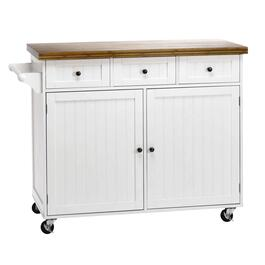 White Rolling Beadboard Kitchen Island