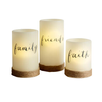 """Faith Family Friends"" LED Pillar Candle Set, 3-Piece view 1"