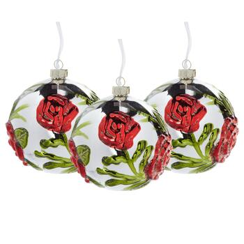Silver/Red Raised Poinsettia Globe Ornaments, Set of 3
