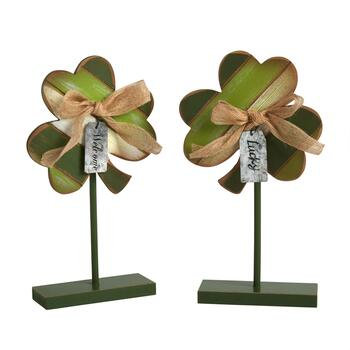 "11.75"" Shamrock Stands with Bows and Tags, Set of 2"