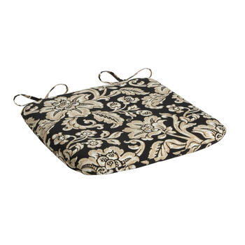 Black/Beige Floral Scroll Indoor/Outdoor Squared Seat Pad view 1