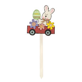 "36"" ""Happy Easter"" Bunny Car Wood Garden Stake view 1"