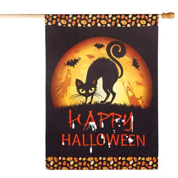 "28""x40"" Sueded ""Happy Halloween"" Black Cat Yard Flag"