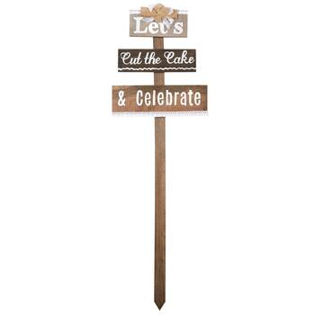 "37"" ""Let's Cut the Cake & Celebrate"" Wood Stake"