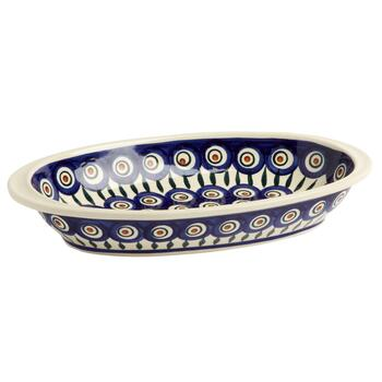 Polish Pottery Peacock Feathers Oval Vegetable Bowl