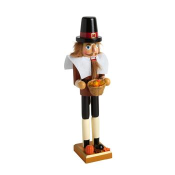 "15"" Pilgrim Nutcracker with Pumpkin Basket"