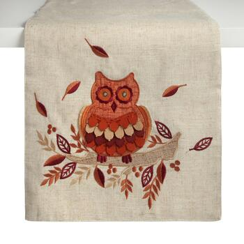 "72"" Tan Harvest Owl Embellished Table Runner"