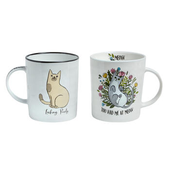 """You Had Me at Meow"" Cat Mugs Set view 1"