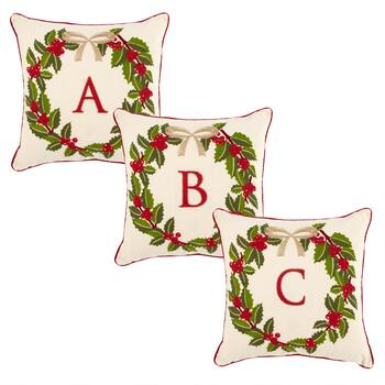 Monogram Christmas Holly Wreath Square Throw Pillow