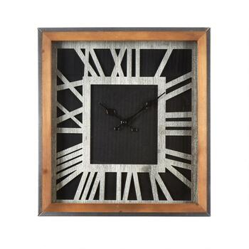 "16"" Wood Frame Roman Numeral Square Wall Clock"