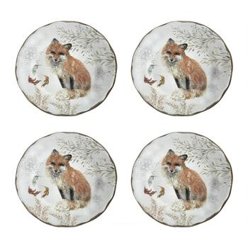 Winter Woodland Fox Melamine Salad Plates, Set of 4