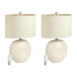 "22"" Cream/Beige Ceramic Ball Table Lamps, Set of 2"