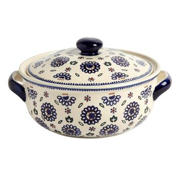 Polish Pottery Geometric Flowers Covered Tureen