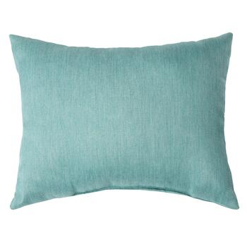 Solid Blue Woven Indoor/Outdoor Oblong Pillow with Button view 2