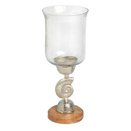 "17"" Clear Glass Spiral Shell Wood/Metal Candle Holder view 1"