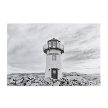 "24""x36"" Black/White Lighthouse Canvas Wall Art"