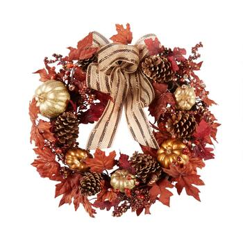 "22"" Glitter Autumn Icons Artificial Twig Wreath"