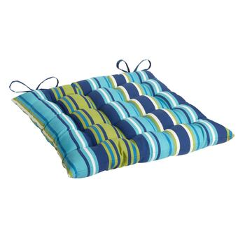 Blue/Green Striped Indoor/Outdoor Tufted Square Seat Pad