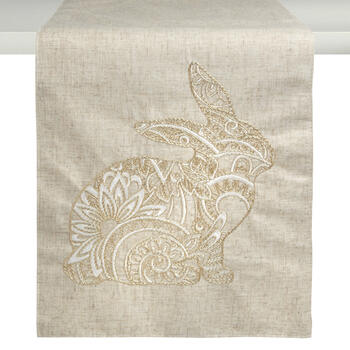 Beige/Gold Metallic Bunny Embellished Table Runner view 1