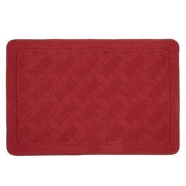 "24""x36"" Red Basket Weave Textured Accent Rug"