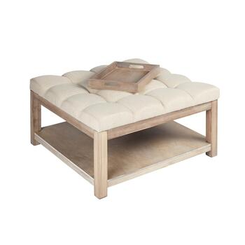 Tufted Coffee Table Ottoman With Tray