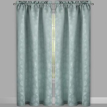 Evolution Teal Floral Rod Pocket Window Curtains, Set of 2 view 2