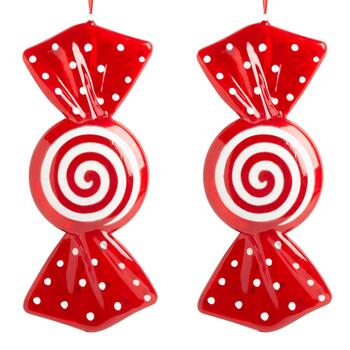 "16.75"" Swirl Wrapper Candy Ornaments, Set of 2"