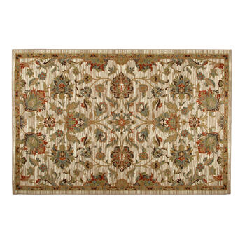 Beige Traditional Floral Print Loop Area Rug view 1