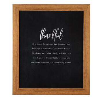 "23""x27"" ""Thankful"" Black Wood Wall Decor"