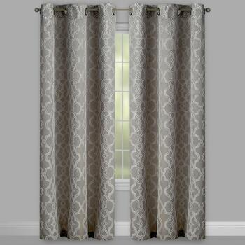 Linked Circles Embroidered Grommet Window Curtains, Set of 2