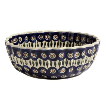 Polish Pottery Peacock Feathers Large Fluted Serving Bowl