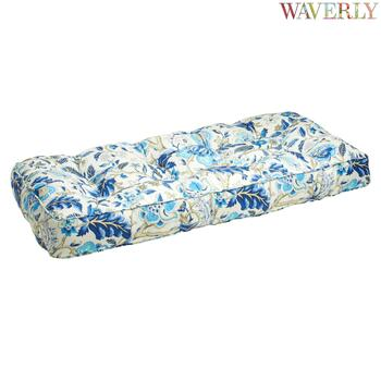 Waverly® Blue Floral Indoor/Outdoor Double-U Bench Seat Pad