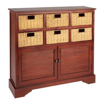 Dark Cherry 6 Basket2 Door Storage Cabinet Christmas Tree Shops