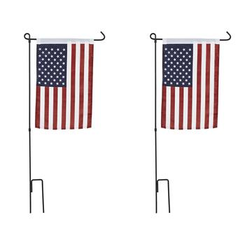 Nylon American Flag With Stakes, Set of 2