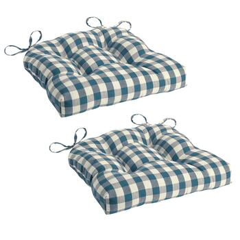 Checkered Pattern Tufted Chair Pad, Set of 2