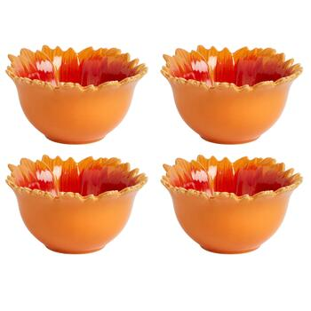 Orange/Brown Sunflower Ceramic Bowls, Set of 4 view 2