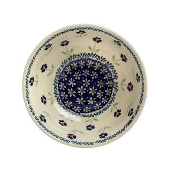 Polish Pottery Blue Petals Small Mixing Bowl view 2