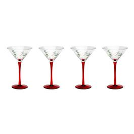 Painted Holly Martini Glasses, Set of 4