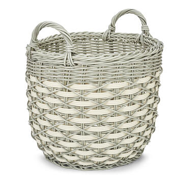Petal and Stone™ Resin Round Gray Handle Basket view 2