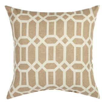 Beige Lattice Indoor/Outdoor Square Throw Pillow