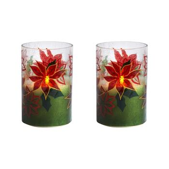"5.75"" Poinsettia LED Candle Hurricanes, Set of 2"